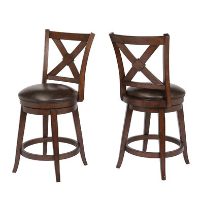 "Hassell 24"" Swivel Bar Stool Frame Color: Walnut"
