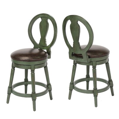 "Hasse 24"" Swivel Bar Stool Frame Color: Green"