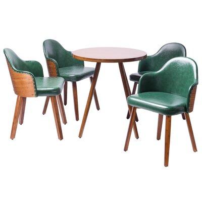 Lindell5 Piece Dining Set Color: Dark green