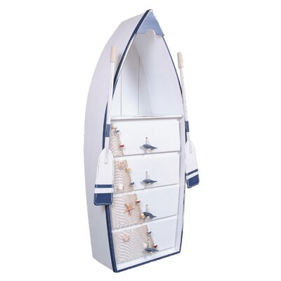 Buariki Wooden Boat 4 Drawers Accent Chest