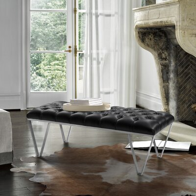 Klar Contemporary Tufted Bench Upholstery: Black