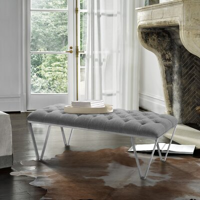 Klar Contemporary Tufted Bench Upholstery: Gray