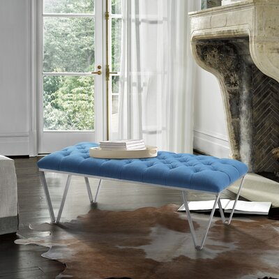 Klar Contemporary Tufted Bench Upholstery: Blue