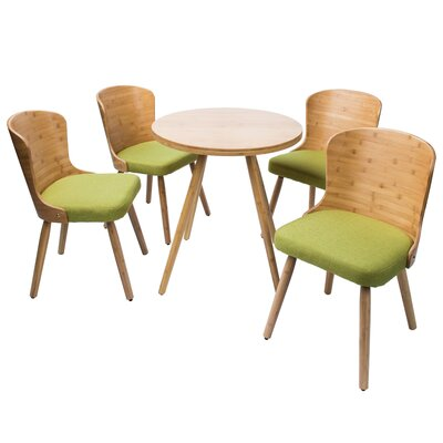 Linde 5 Piece Dining Set Color: Grass green