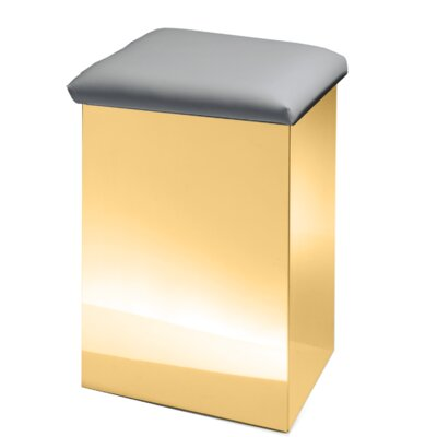 """Lamons Backless Vanity Stool Size: 19.7"""" H x 12.6"""" W x 12.6"""" D, Seat Color: Gray, Frame Color: Polished Gold"""