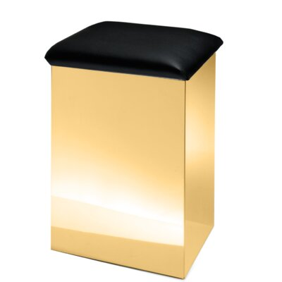 "Lamons Backless Vanity Stool Size: 26"" H x 16.5"" W x 12.6"" D, Seat Color: Black, Frame Color: Polished Gold"