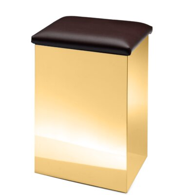 """Lamons Backless Vanity Stool Size: 19.7"""" H x 12.6"""" W x 12.6"""" D, Seat Color: Dark Brown, Frame Color: Polished Gold"""
