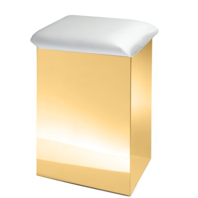 """Lamons Backless Vanity Stool Size: 19.7"""" H x 12.6"""" W x 12.6"""" D, Frame Color: Polished Gold, Seat Color: White"""