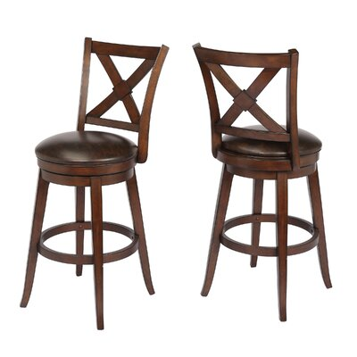 "Hassell 29"" Swivel Bar Stool Frame Color: Walnut"