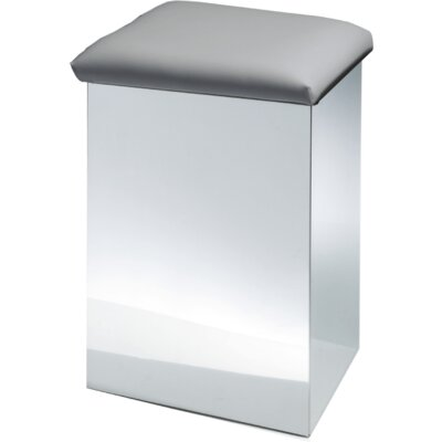 """Lamons Backless Vanity Stool Size: 19.7"""" H x 12.6"""" W x 12.6"""" D, Seat Color: Gray, Frame Color: Polished Chrome"""
