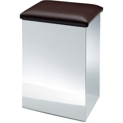 """Lamons Backless Vanity Stool Size: 19.7"""" H x 12.6"""" W x 12.6"""" D, Seat Color: Dark Brown, Frame Color: Polished Chrome"""