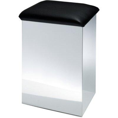 "Lamons Backless Vanity Stool Size: 26"" H x 16.5"" W x 12.6"" D, Seat Color: Black, Frame Color: Polished Chrome"