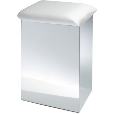 """Lamons Backless Vanity Stool Size: 19.7"""" H x 12.6"""" W x 12.6"""" D, Frame Color: Polished Chrome, Seat Color: White"""