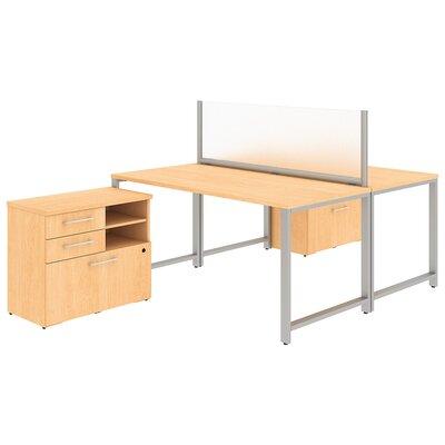 400 Series 2 Person Workstation 5 Piece Desk Office Suite Color: Natural Maple