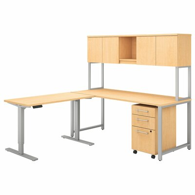 400 Series 3 Piece L-Shape Desk Office Suite Color: Natural Maple