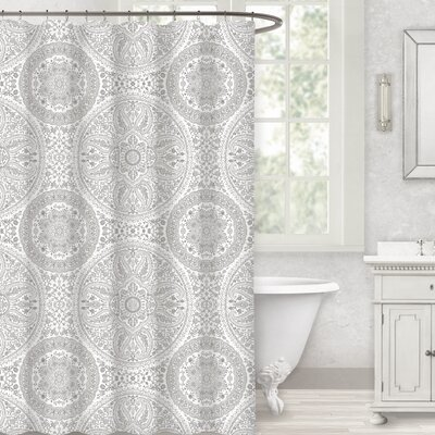 Herzberg Paisley Medallion 100% Cotton Shower Curtain Color: Gray