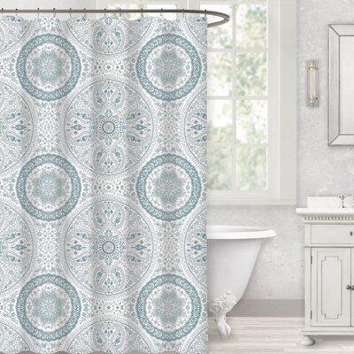 Herzberg Paisley Medallion 100% Cotton Shower Curtain Color: Spa Blue