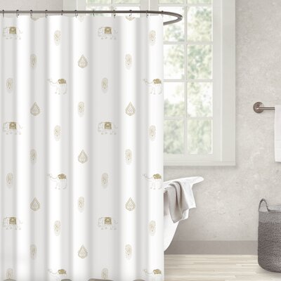 Crantor 100% Cotton Shower Curtain Color: Gold/Taupe