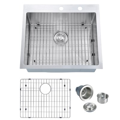 "Handmade 25"" L x 22"" W Drop-In Kitchen Sink with Sink Grid and Drain Assembly"