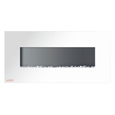 "Royal Wall Mounted Electric Fireplace Size: 21.65"" H x 50"" W x 4.6"" D, Finish: White"