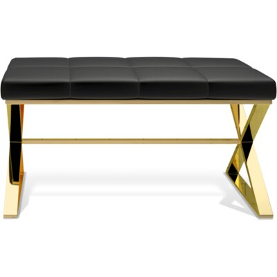 Miramontes Backless Vanity Stool Seat Color: Black, Frame Color: Polished Gold
