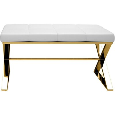 Miramontes Backless Vanity Stool Frame Color: Polished Gold, Seat Color: White