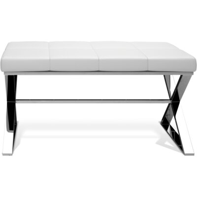 Miramontes Backless Vanity Stool Frame Color: Polished Chrome, Seat Color: White