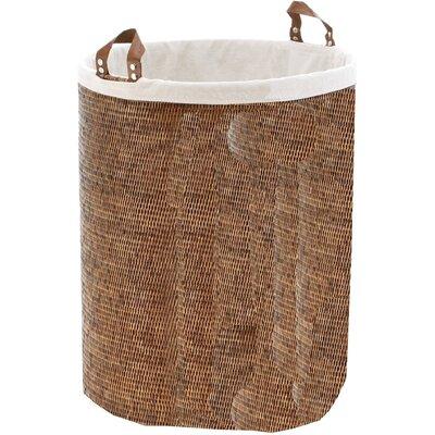 Single Round Spa Laundry Hamper with Handles Color: Dark Rattan