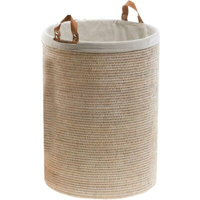 Single Round Spa Laundry Hamper with Handles Color: Light Rattan