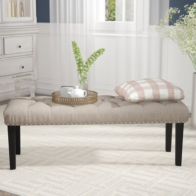 Seapine Upholstered Bench Color: Beige