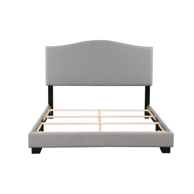 Gene Panel Bed Bed Frame Color: Gray, Size: Queen