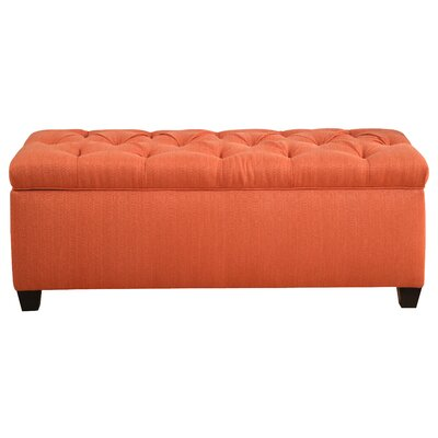 Heaney Diamond Tufted Upholstered Storage Bench Upholstery Color: Orange