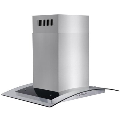 "36"" 343 CFM Convertible Island Range Hood Chimney Height: 30"""