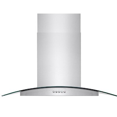 "36"" 343 CFM Convertible Island Range Hood Chimney Height: 36"""