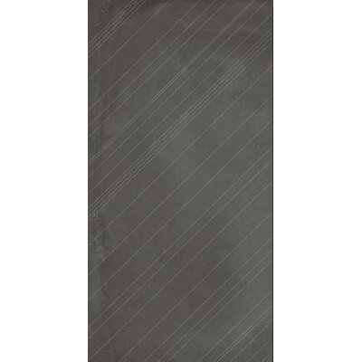 """Borigni Diagonal-R 18"""" x 35"""" Porcelain Field Tile in Black"""