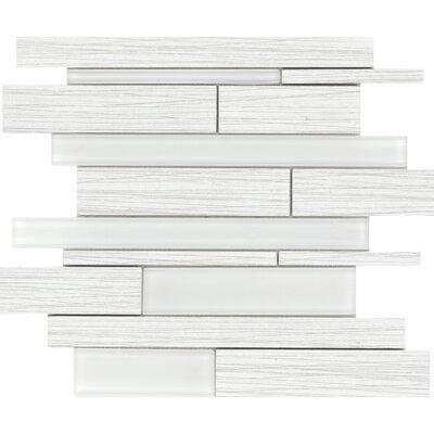 Thread Random Sized Porcelain Mosaic Tile in White