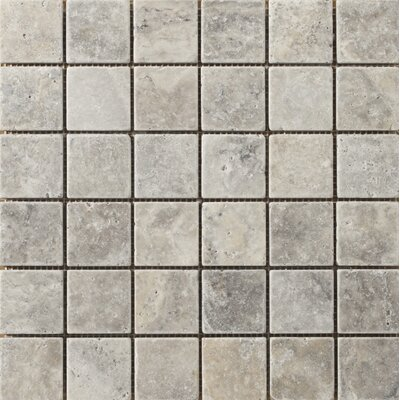 "Trav Anc Tumbled 2"" x 2"" Travertine Mosaic Tile in Silver"