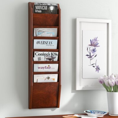 Olsson 7 Pocket Wall Mount Magazine Rack Wood Color: Dark Red Mahogany