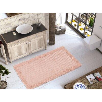 Eden Luxury Soft Cotton Patterned Wave Bath Rug Color: Pink