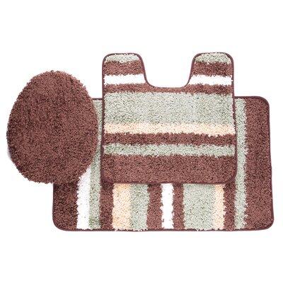 Chumley 3 Piece Bath Rug Set Color: Sage