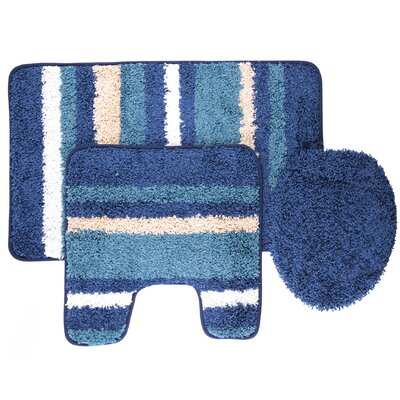 Chumley 3 Piece Bath Rug Set Color: Blue