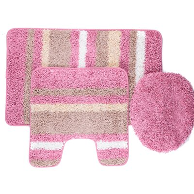 Chumley 3 Piece Bath Rug Set Color: Rose