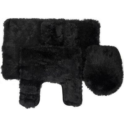Kurland Fluff 3 Piece Bath Rug Set Color: Black