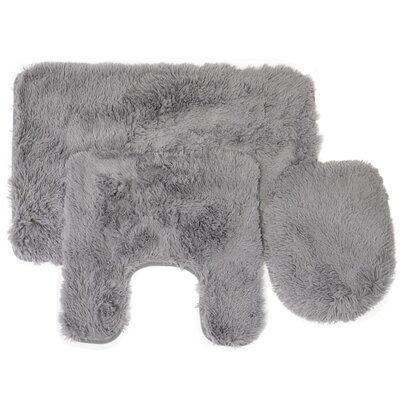 Kurland Fluff 3 Piece Bath Rug Set Color: Gray