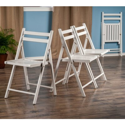 Robin Wood 4 Piece Folding Chair Set Color: White
