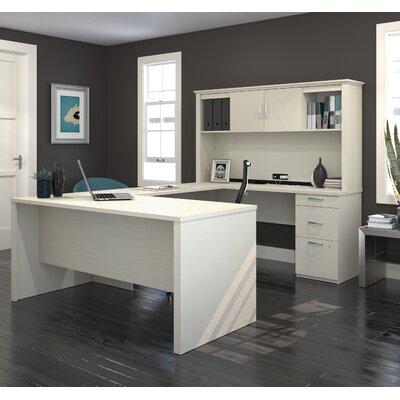 Pratyush U-Shape Executive Desk Color: White Chocolate