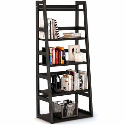 Mosquera 5 Tier Ladder Bookcase with Strong Metal Frame Color: Black