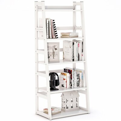 Mosquera 5 Tier Ladder Bookcase with Strong Metal Frame Color: White