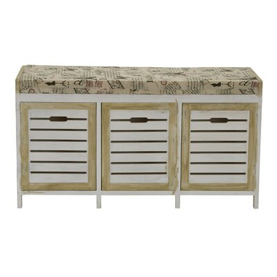 Ackerman Paris Cushion 3 Door Wood Storage Bench