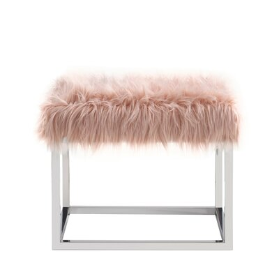 """Lanz Upholstered Bench Size: 17.5"""" H x 22"""" W x 18"""" L, Upholstery: Pink"""